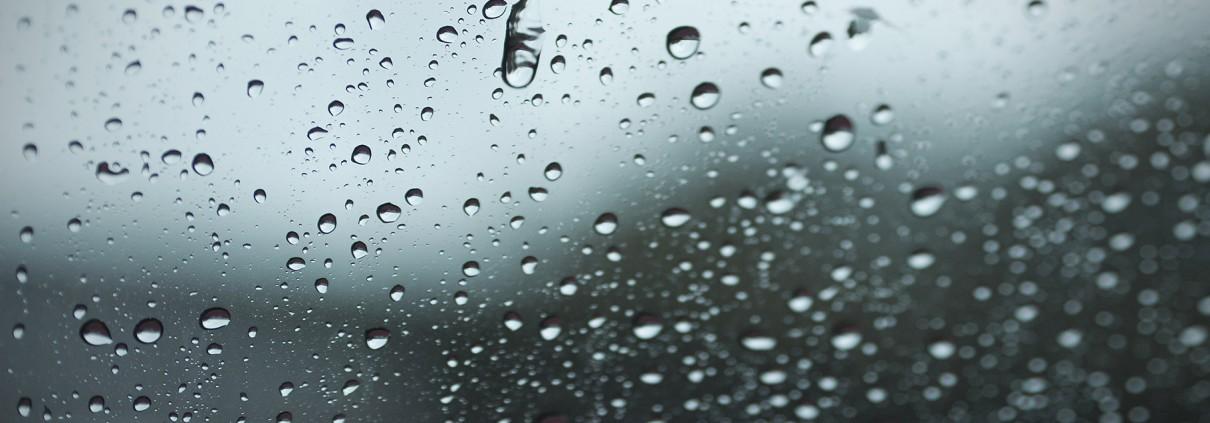 Blurred raindrop to the window